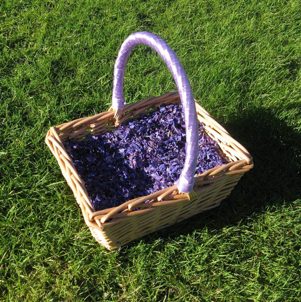 Flower Girl Baskets - purple delphinium petals