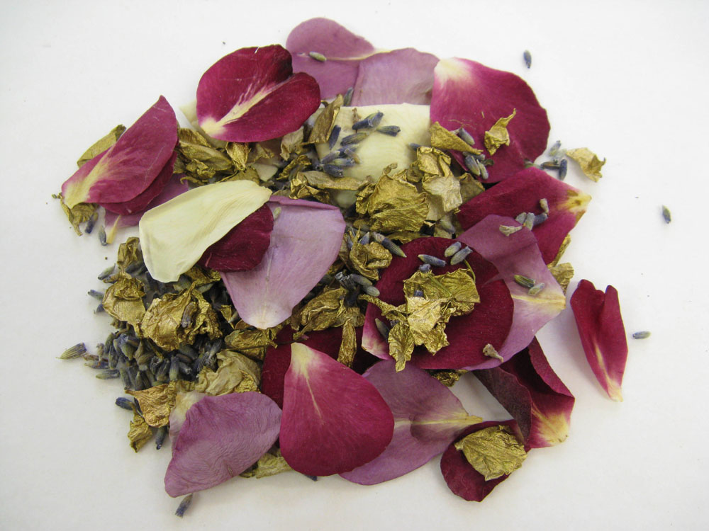 Petal Confetti Moment - Gold Delphiniums, Lavender grains and Merlot, Lilac and Cream Small Natural Rose Petals