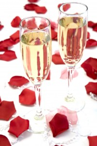 Red Rose Petals - champagne decorations