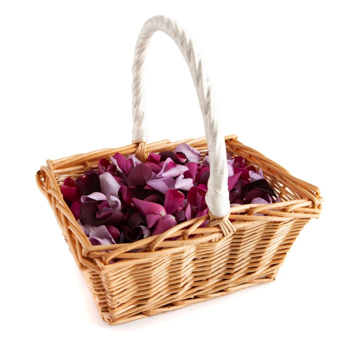 Large Natural Rose Petals in a Rectangular Flower Girl Basket