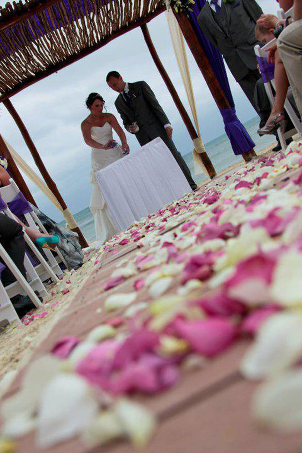 Petal Confetti - a Large Rose Petal decorated aisle