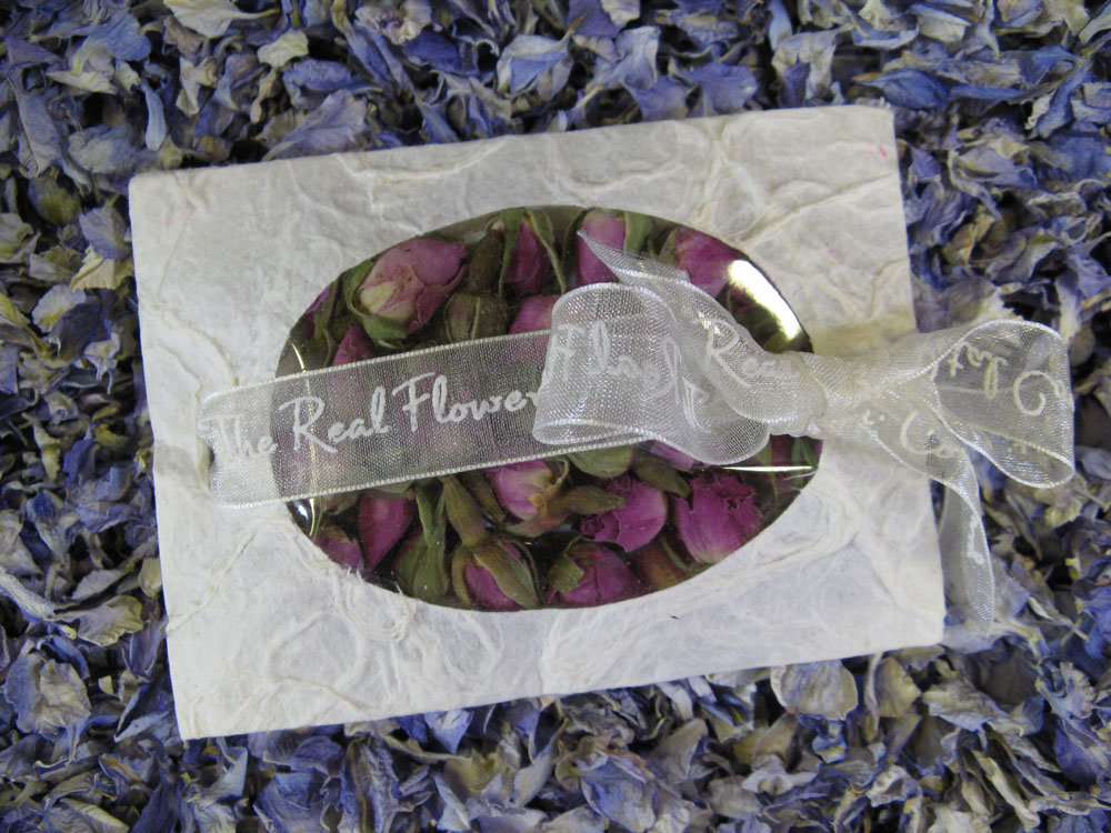 Petal Confetti - Delphiniums, Wildflowers and Lavender - Rosebud confetti envelope