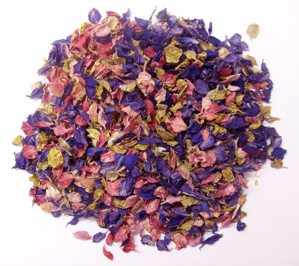 Petal Confetti - Delphiniums, Wildflowers and Lavender - Purple, Raspberry and Gold Delphinium Petals