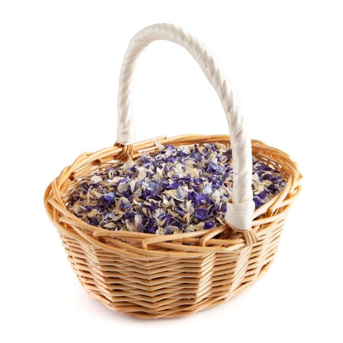 Biodegradable Confetti - Violet Mix Delphiniums - Flower Girl Basket