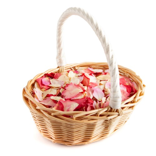 Oval Flower Girl Basket - Bright Pink Mix Rose Petals