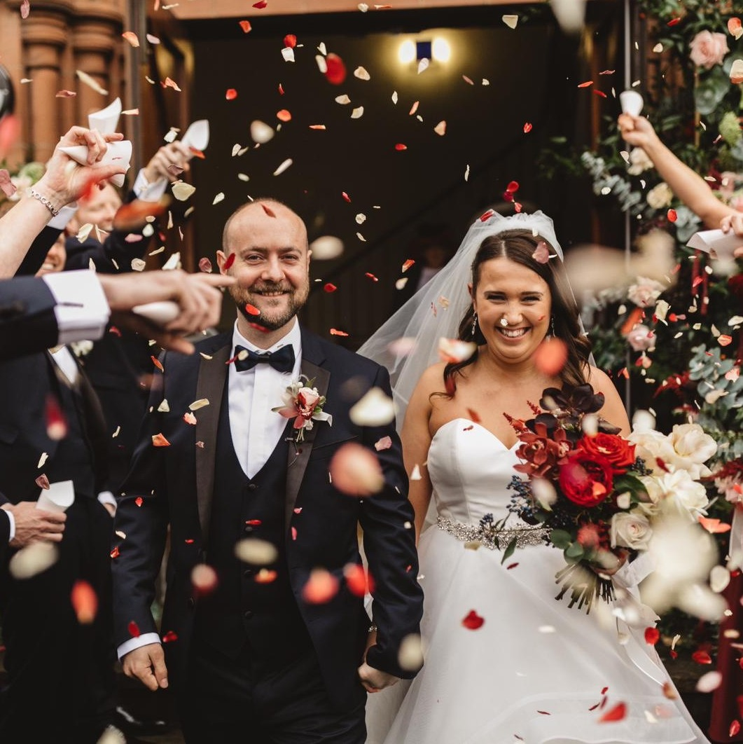 Real Flower Petal Confetti Moment - Winter Weddings