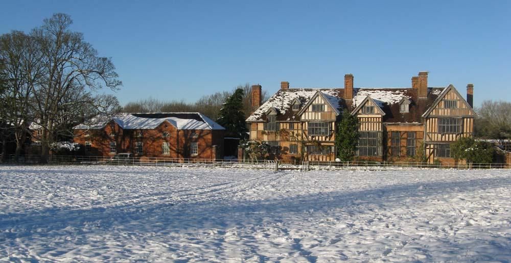 Wyke Manor in the snow - Real Flower Petal Confetti Moment - Winter Weddings