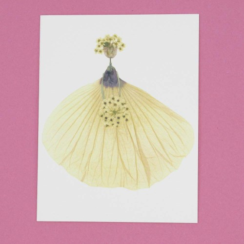 Petal People card made of pressed flowers - a bride