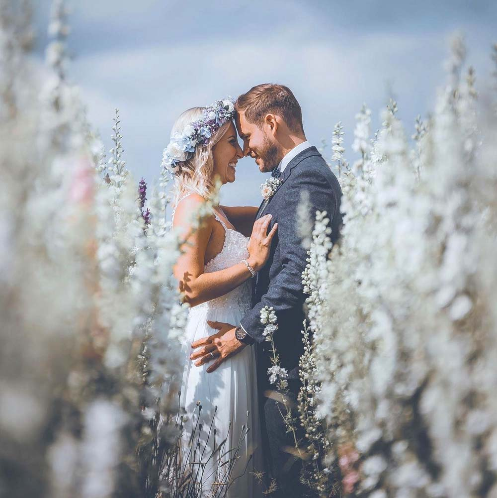 Bride and Groom in the Confetti Flower Field
