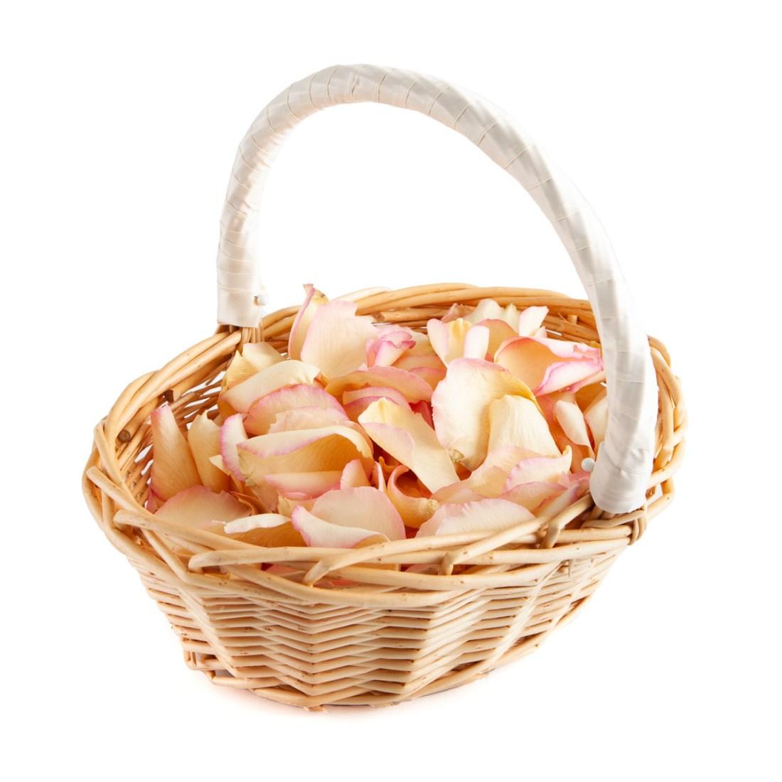 Pink & Cream Rose Petals in a Flower Girl Basket