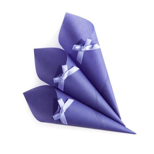 purple confetti cones