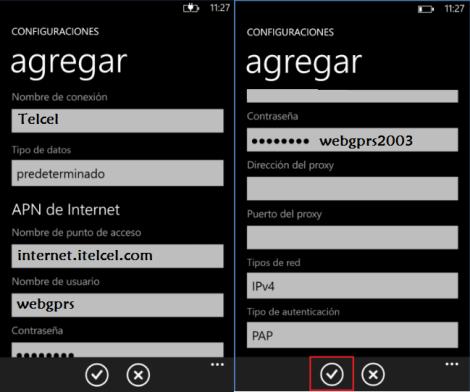 reparar configurar apn telcel mexico windows phone