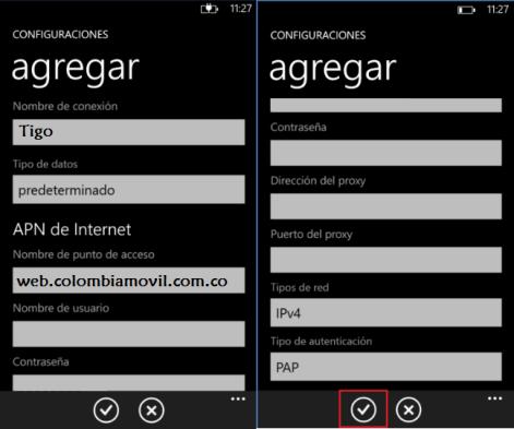 reparar configurar apn tigo colombia windows phone