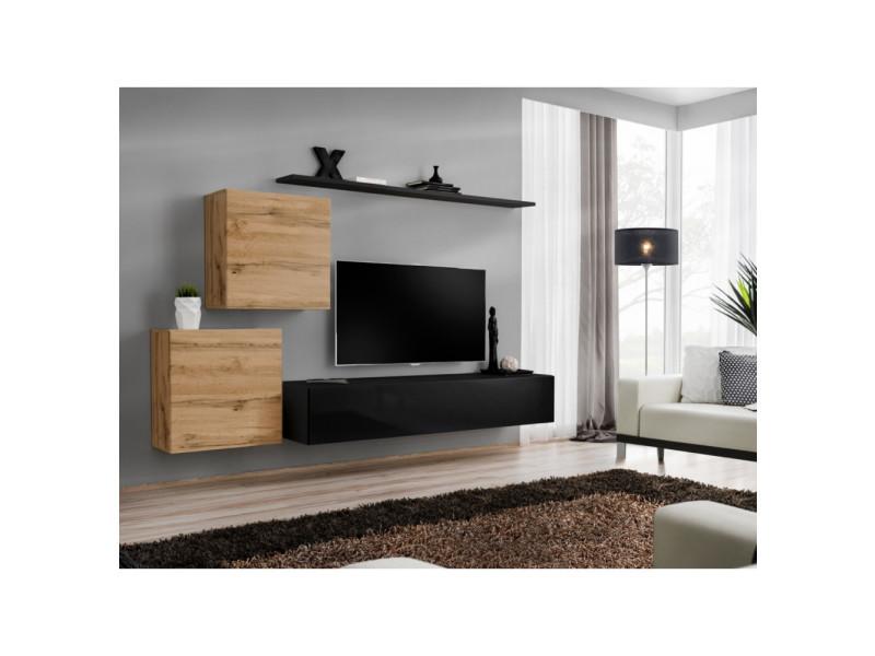 ensemble mural switch v 1 vitrine carree 1 banc tv 1 etagere bois et noir modele 1