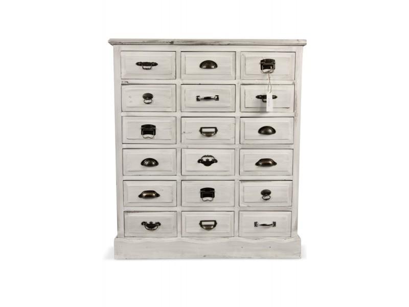 meuble semainier chiffonnier grainetier bois blanc ceruse 18 tiroirs 87x34 5x99 5cm decoration d autrefois
