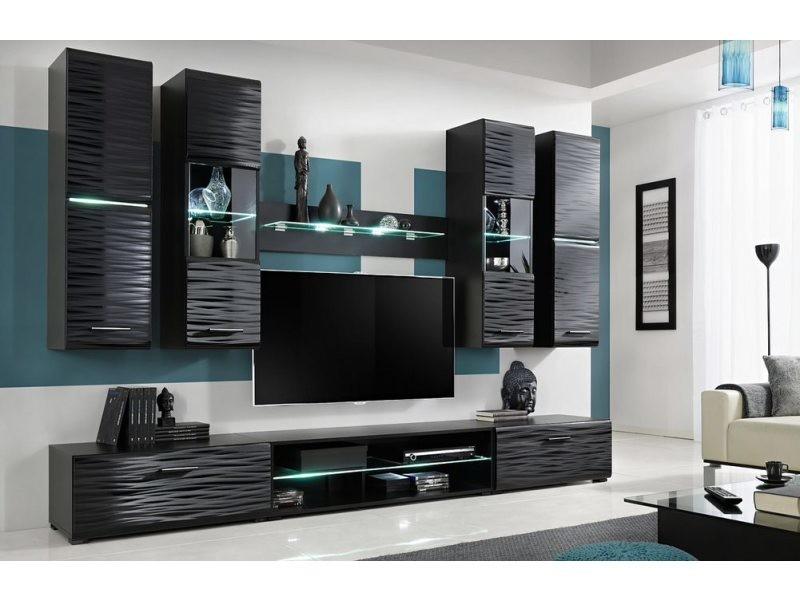 jessi unite murale style contemporain 6 pcs eclairage led inclus mur tv ensembles meubles salon sejour gloss mat noir