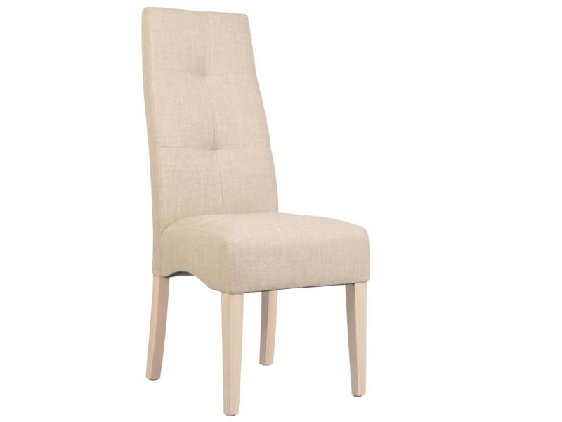lot de 2 chaises de salle a manger en bois massif coloris beige 47 x 109 x 65 cm pegane