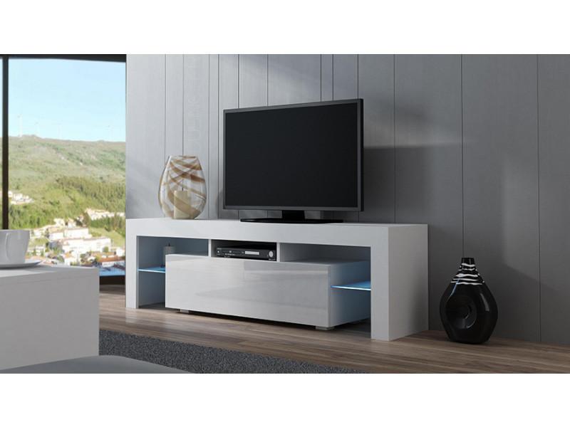 meuble tv spider a led en blanc mat