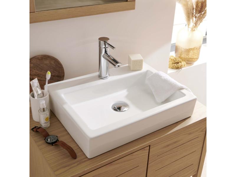 vasque salle de bain rectangulaire a poser en ceramique blanche l48 x p38 cm padi