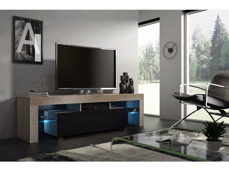 meuble tv 160 cm chene mdf et noir laque avec led rgb