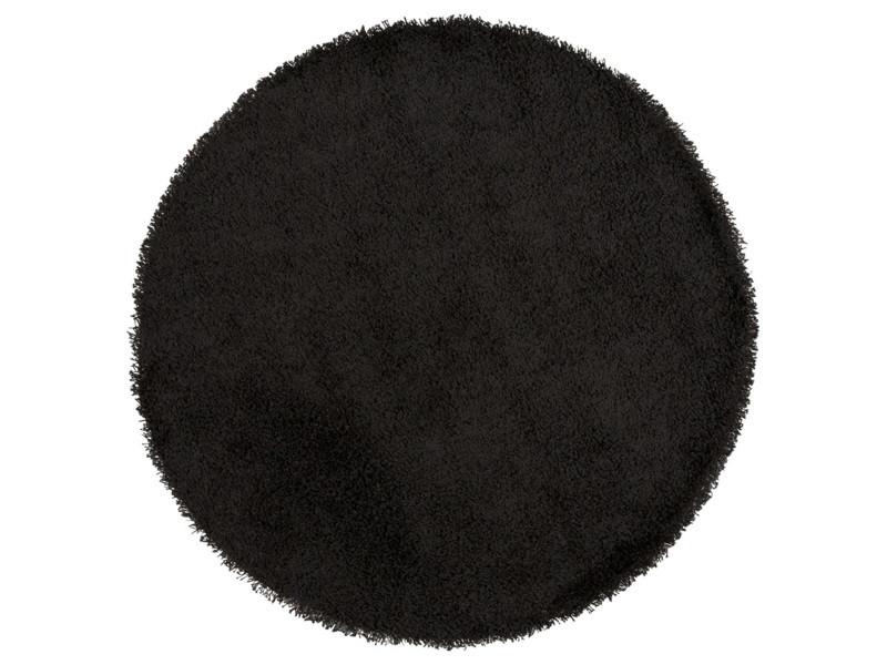 tapis rond a poils long coloris noir