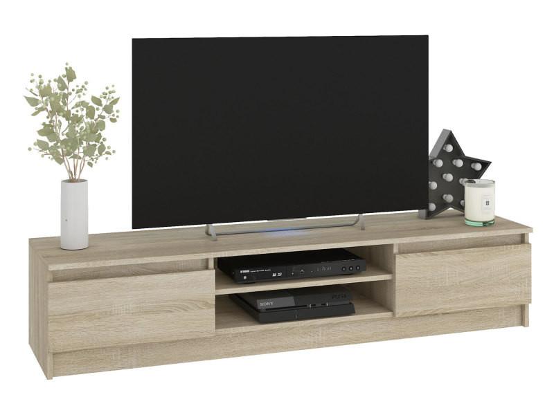 robin meuble bas tv contemporain salon sejour 160x33x40cm 2 niches 2 portes rangement materiel audio video gaming sonoma
