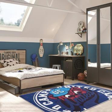 tapis chambre kids safari bleu 60 x 110