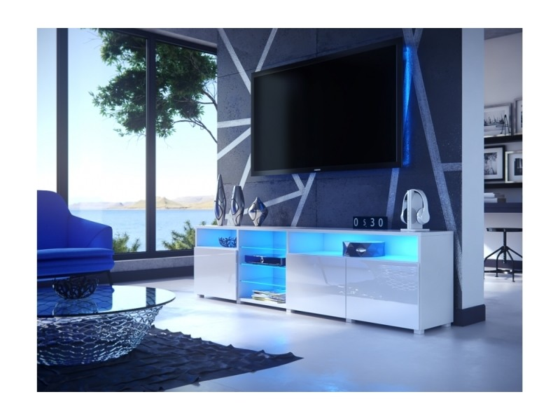 meuble tv massimo 200 cm blanc mat et