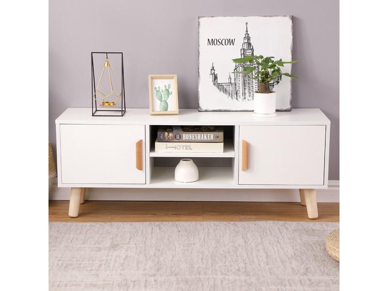 meuble tv scandinave pieds en bois hombuy blanc l 110 cm