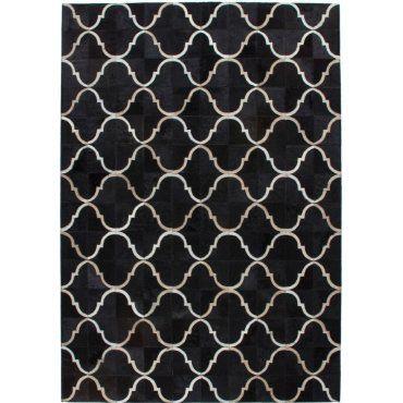 tapis peau de vache cuir noir 230 240