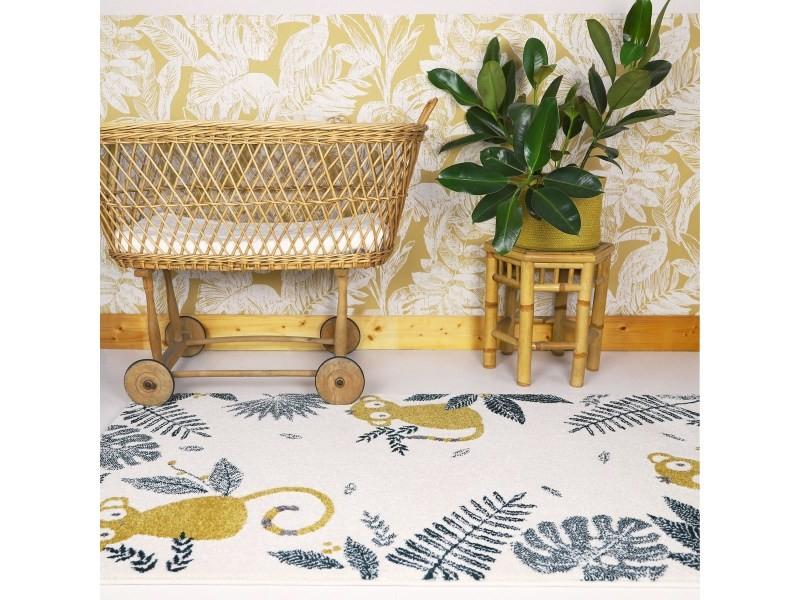 tapis enfant design petits singes monkey paradise miel 80x160 cm