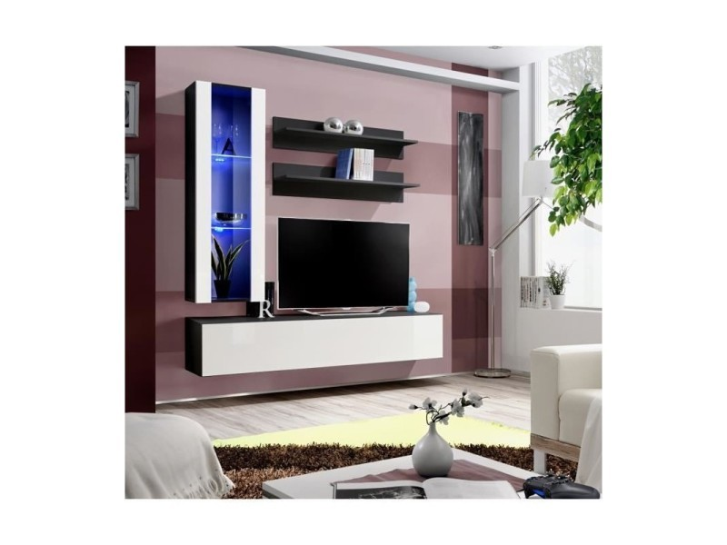 ensemble meuble tv mural fly ii 160 cm x 170 cm x 40 cm blanc et noir 2