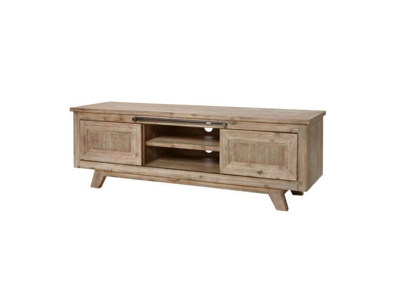 meuble tv style nature en bois massif chene clair valerie