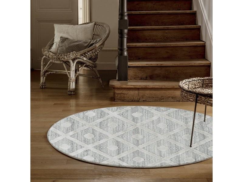 https www conforama fr decoration textile tapis tapis salon et chambre melia tapis berbere rond a relief creme 120 x 120 cm pisa1201204707grey p z47556130