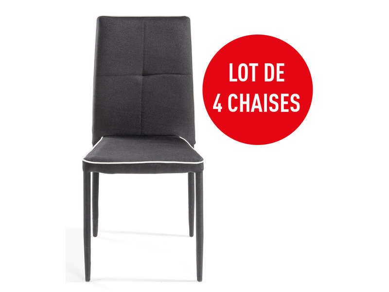 lot de 4 chaises torino coloris noir