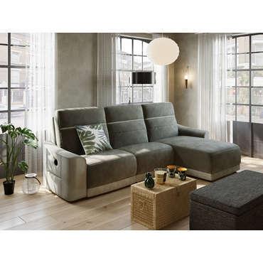 canape d angle gris relax electrique