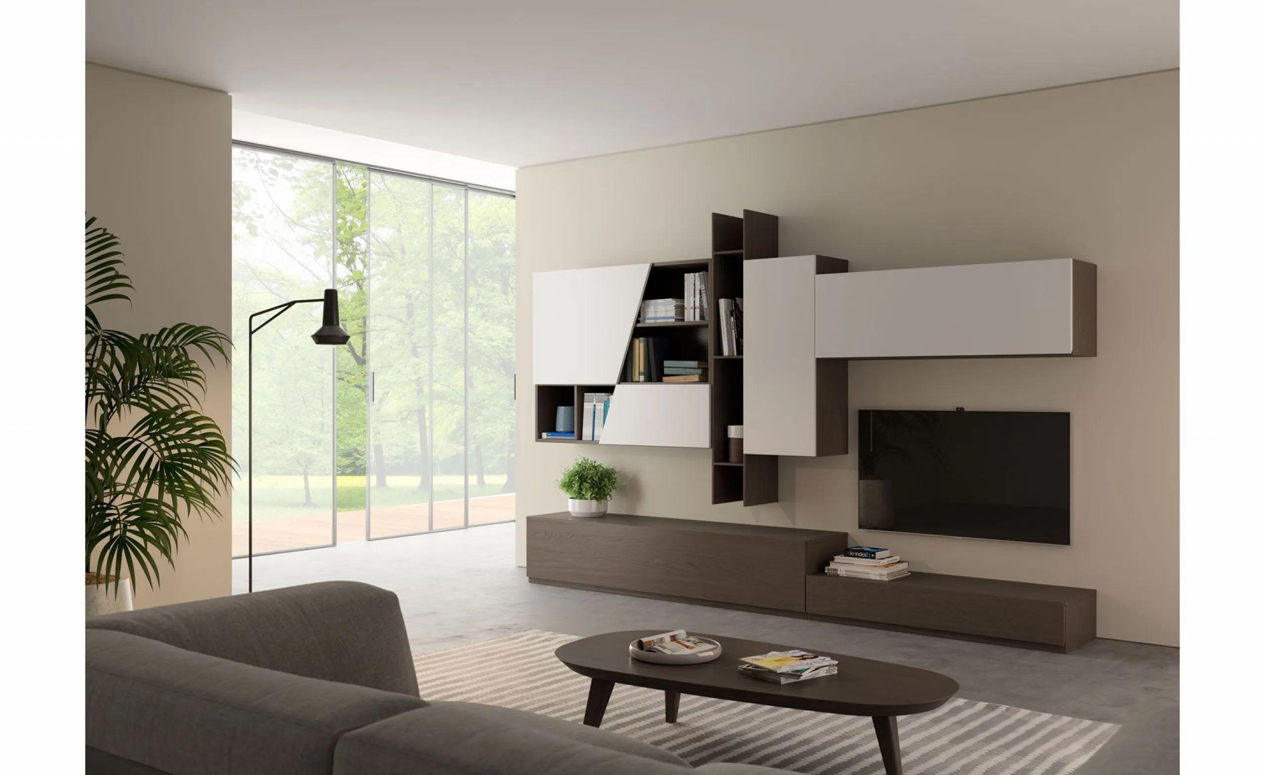 mobili parete attrezzata con design moderno e minimale con vetrina, base tv, mensola e pensile sospeso. Pareti Soggiorno Conforama