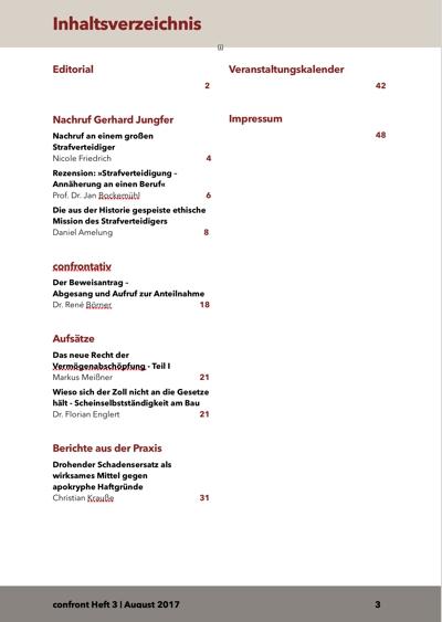 confront - Zeitschrift für aktive Strafverteidigung | Heft 2017 - 3