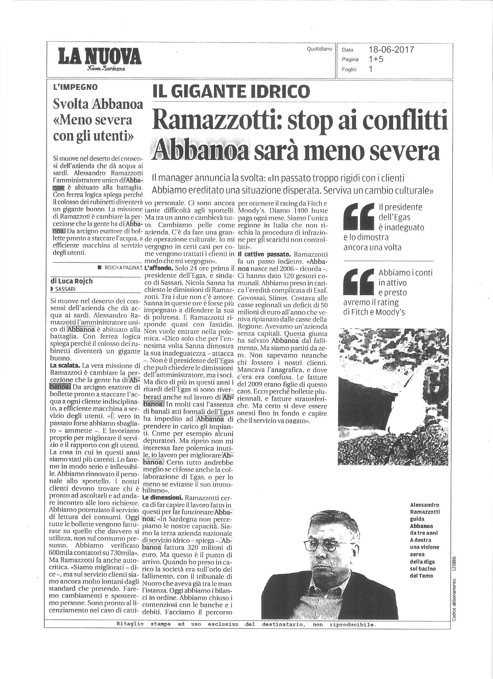 Articolo La Nuova Sardegna Abbanoa 18/06/2017