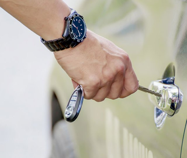 Man Unlocking Car