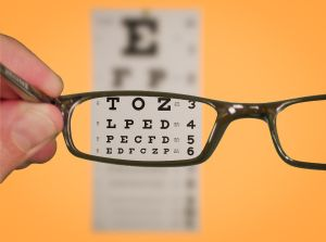 Eyeglasses with vision chart