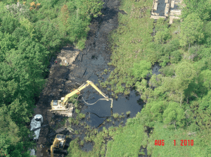 Tar sands oil sinks near Kalamazoo, Michigan: August 1, 2010. Source: EPA