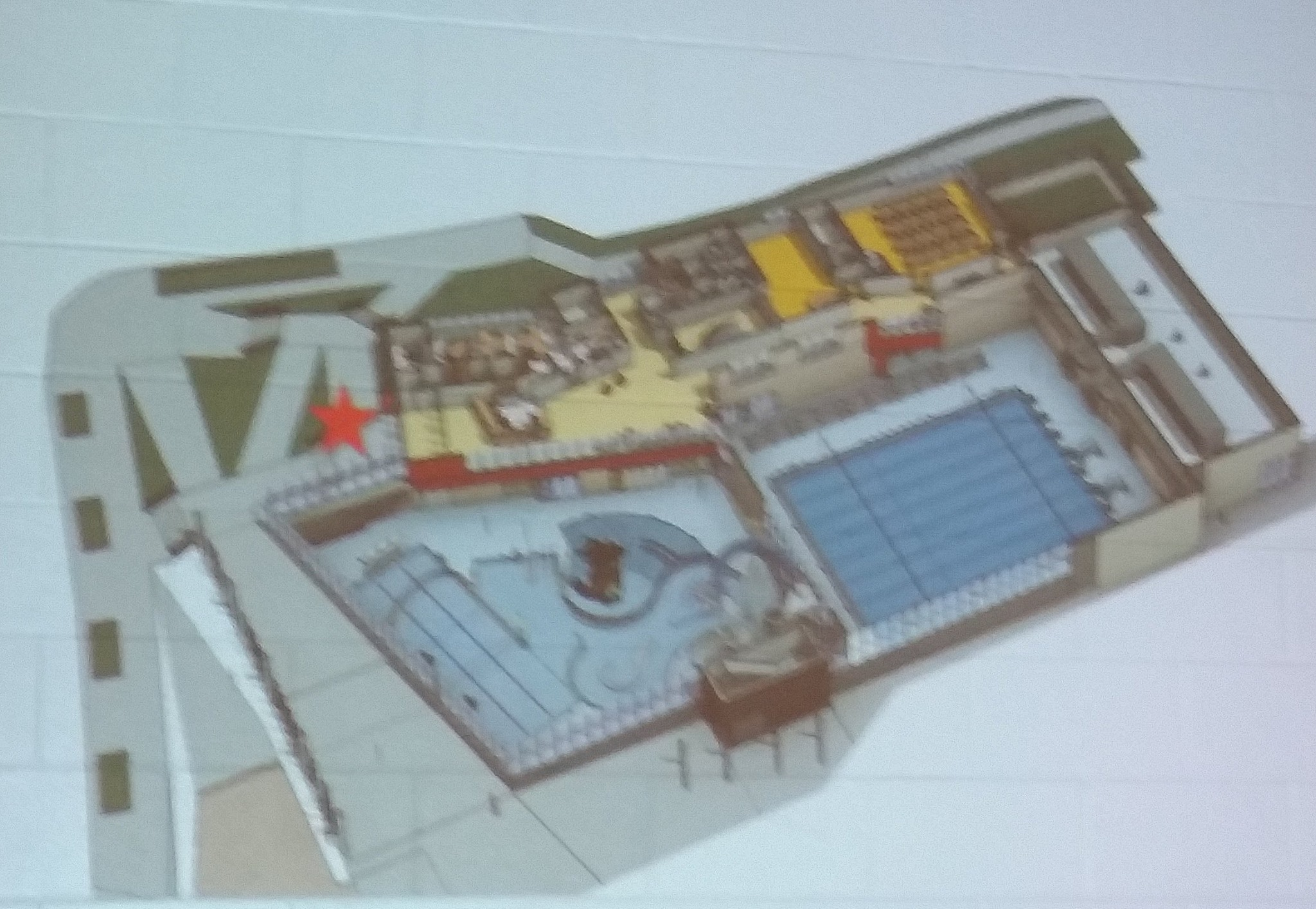Entrance level, pools are a level down.
