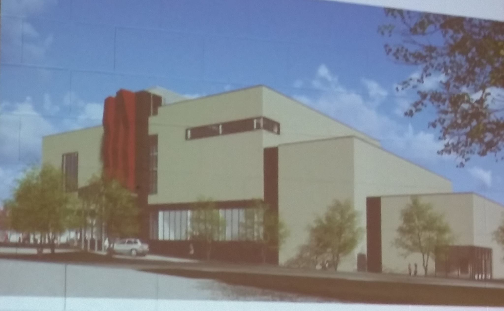 View from parking area to east of Center (red structure is climbing wall to be installed when funds are available).