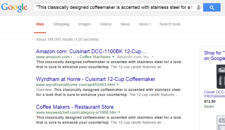 Google.com snippet search for duplicate content
