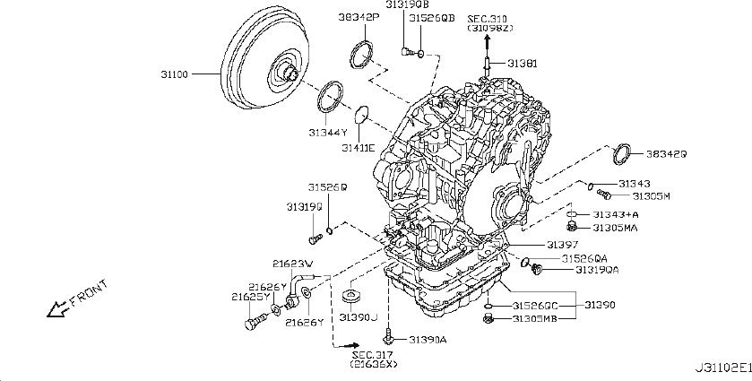 Nissan Maxima Converter Torque. CVT, HOUSING, TRANSMISSION