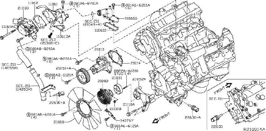 Nissan Titan Engine Cooling Fan Clutch Blade. PUMP, WATER