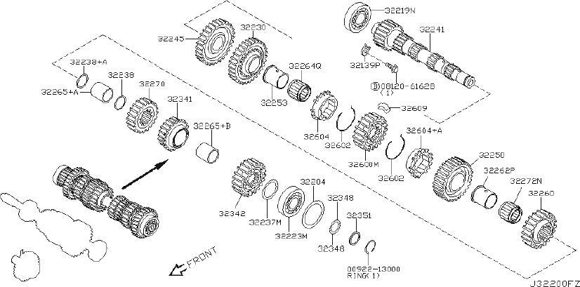 Nissan Sentra Gear 1ST, Main Shaft. INPUT, Transmission