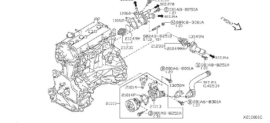 Nissan Sentra Engine Coolant Thermostat Housing. COOLING