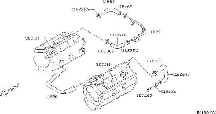 Nissan Frontier Hose Blowby Gas. CRANKCASE, VENTILATION